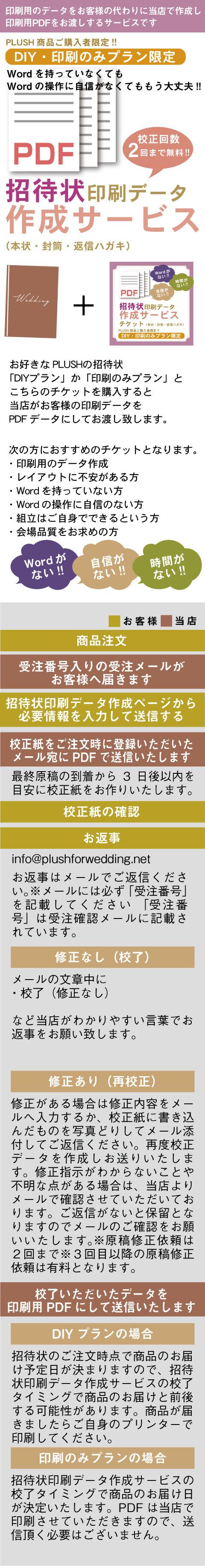 招待状印刷データ作成サービスチケット